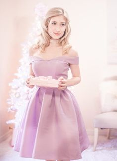 off the shoulder dress, white christmas tree, pastel christmas, pastel christmas decor, kate spade glitter heels, slmissglam makeup brushes, hair bow, pink ornaments, pearl choker, choker necklace, pink presents