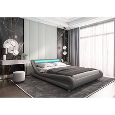 Wade Logan Mallory Upholstered Platform Bed & Reviews | Wayfair Bed With Led Lights, Headboard With Lights, Bed Frame And Headboard, Leather Platform Bed, Low Platform Bed, Modern Platform Bed, Bedroom Bed Design, Bedroom Size, Bedroom Decor