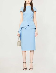 ROLAND MOURET - Aldingham flared-panel crepe dress | Selfridges.com