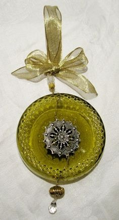 Wine Bottle Bottom Ornament from Recycled Wine by Serendipitini