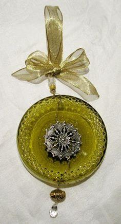 Wine Bottle Bottom Ornament from Recycled Wine Bottle