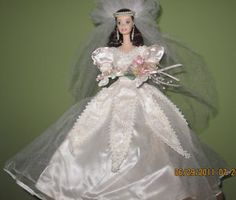Blushing Orchid Bride Porcelain Barbie Doll
