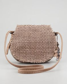 Weaving suggests fabric, but this is leather! If I were rich and needed a small rustic everyday bag, this is it! Henry Beguelin Sella Woven Leather Crossbody Bag Taupe.