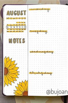 If you want to change your theme for the month, you neee to check out these colorful sunflower bullet journal spreads for inspiration! Bullet Journal August, Bullet Journal School, Bullet Journal Spreads, Bullet Journal Cover Ideas, Bullet Journal Lettering Ideas, Bullet Journal Banner, Bullet Journal Tracker, Bullet Journal Notebook, Bullet Journal Inspiration