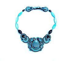 Oriental Blue Statement Necklace Soutache Blue by StudioGianna