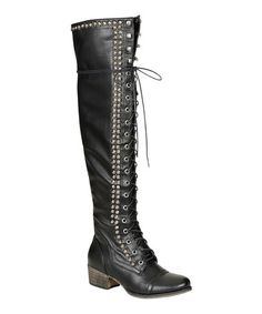 Look what I found on #zulily! Black Alabama Studded Over-the-Knee Boot #zulilyfinds