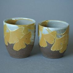 handmade stoneware meoto yunomi  / wedding tea cup set with autumn yellow ginkgo leaves in Japanese/Craftsman style