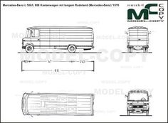 Mercedes-Benz L 508/L 608 Kastenwagen mit langem Radstand (Mercedes-Benz) '1976 - blueprints (ai, cdr, cdw, dwg, dxf, eps, gif, jpg, pdf, pct, psd, svg, tif, bmp)