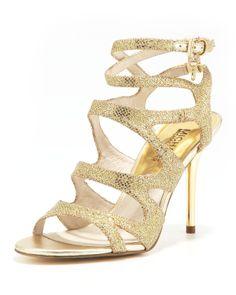 MICHAEL Michael Kors  Yvonne Glittered Strappy Sandal - Neiman Marcus