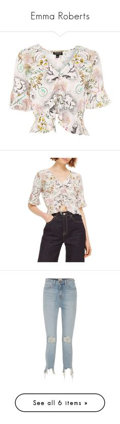 """""""Emma Roberts"""" by larycao ❤ liked on Polyvore featuring tops, blouses, white, white summer blouse, petite white blouse, pattern blouse, ruched sleeve top, ruched blouse, ivory multi and shirred blouse"""