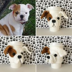 Can you handle the tail wag-worthy cuteness of this Bulldog puppy crochet dog cozy pattern? Make this realistic canine creation for all the Bulldog puppy lovers in your life and they will think you're paw-some! You will never have so much fun crocheting! Crochet Coffee Cozy, Crochet Cozy, Dog Crochet, Gifts For Dog Owners, Dog Gifts, Crochet Dog Patterns, Crochet Kits, Mug Cozy Pattern, Bulldog Puppies