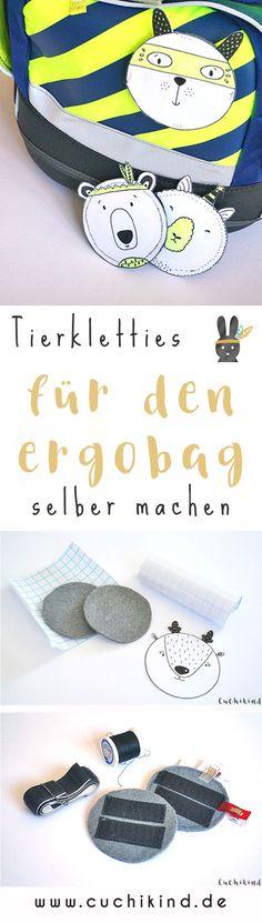 Kletties für den Schulranzen von Ergobag selber machen. Bär, Hase, Reh oder Lama, so süße Klettteile zum Selbernähen. #nähen #nähanleitung #nähtutorial #klettie #kletties #ergobag #schulranzen