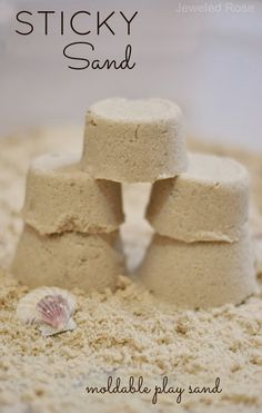 Sand play dough makes building sand castles fun and easy! http://www.growingajeweledrose.com/2013/06/play-recipe-sand-dough.html