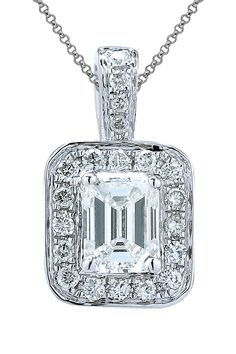 18K White Gold Baguette Diamond Pendant Necklace - 0.27 ctw