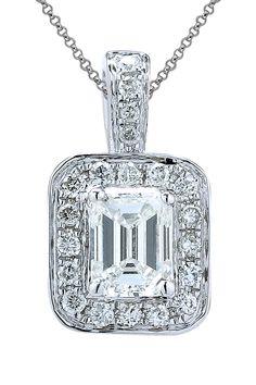 18K White Gold Baguette Diamond Pendant Necklace - 0.27 ctw