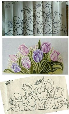Embroidery Flowers Pattern, Flower Patterns, Embroidery Designs, Flower Sketches, Art Sketches, Fabric Paint Designs, Wood Burning Patterns, Painted Clothes, Stencil Diy