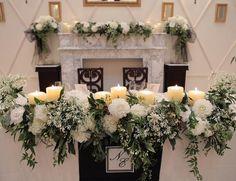 高砂 大好きな白×グリーン 迷いましたがマントルピースもお花 メインサイドもお花 ブラックチュールでステキに仕上げてくださいました #weddingtbt#jomalone#ウェルカムスペース#ロビー#プレ花嫁#プレ花嫁卒業#卒花#山手迎賓館#高砂