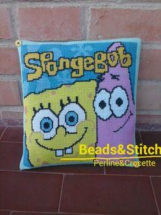 Cuscino spongebob a punto croce su schema fatto da me