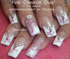 Nail-art by Robin Moses PINK AND WHITE DIVA http://www.youtube.com/watch?v=zIFxT4rUVhw