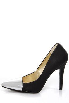7f76237bc15 Shoe Republic LA Latin Black and Silver Cap-Toe Pointed Pumps -  37.00  Graduation Shoes