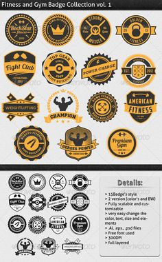 Fitness and Gym Vintage Badge - Badges & Stickers Web Elements