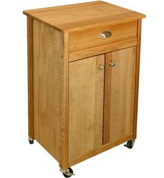 Wood Kitchen Cart - this wooden cart has heavy-duty casters for mobility and a drawer and shelf for storage. It adds instant extra storage and work space to your kitchen.