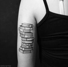 Blackwork Book Tattoo by DOYO