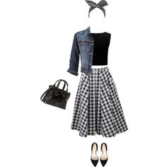 Gingham skirt by lenaick on Polyvore featuring moda, Forever New, maurices, Michael Kors, Nine West and Betsey Johnson