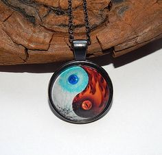 Ice And Fire Dragons Yin Yang Necklace pendant keychain Yin