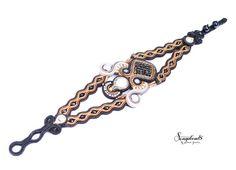 Hand embroidered soutache bracelet. Handmade jewelery. Design