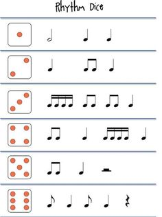 Beths Music Notes: Rhythm games - good way to not have to change 10 sets of dice! Rhythm Games, Preschool Music, Music Activities, Movement Activities, Elementary Music Lessons, Piano Lessons, Elementary Schools, Middle School Music, Music Lesson Plans