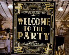 Gatsby Party Speakeasy Printable Sign, Gatsby Wedding, Roaring Twenties Party Decor, Art Deco Party Supplies Black and Gold Roaring Twenties Party, Roaring 20s Birthday Party, Roaring 20s Theme, Art Deco Party, Nye Party, Party Wedding, Wedding Reception, 1920s Wedding Decor, Wedding Themes