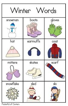 Winter Words for your Writing Center Kids English, English Words, English Lessons, Learn English, English Language, Japanese Language, English Activities, Preschool Activities, Work Activities