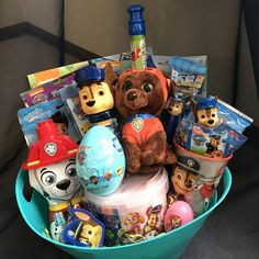 One made to order Paw Patrol Gift Basket. The perfect gift idea for that Paw Patrol fan. The basket contains only Paw Patrol items * provide age o Homemade Gift Baskets, Candy Gift Baskets, Best Gift Baskets, Kids Gift Baskets, Homemade Gifts, Kids Toy Shop, Toy Cars For Kids, Baby Easter Basket, Easter Baskets