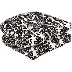 Pillow Perfect Indoor/Outdoor Black/Beige Damask Wicker Seat Cushions,  Length, Outdoor Black/beige Damask Wicker Seat Cushions, Made In The USA Or  Imported.