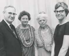 Dr. Connie Guion, Sweet Briar College professor of Chemistry, Dr. Bentley Glass, Sweet Briar College professor of Biology, Anne Pannell, Sweet Briar College President and professor of History, and Dr, Miriam Bennett, Sweet Briar College professor of Biology in 1954. Pictured on April 22, 1966.  Sweet Briar College, some rights reserved. CC-BY-NC.