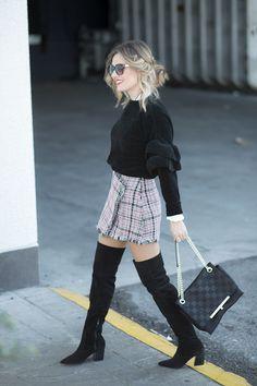 ASYMMETRY SKIRT – Mi Aventura Con La Moda. Black ruffle sweater+plaid tweed skirt+black over the knee boots+black shoulder bag+sunglasses. Fall Outfit 2016