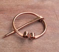 Small Copper Penannular Brooch-Kilt Pin,Cloak Pin,Solid Copper,Hammered,Cold Forged,Brooch,Upcycled,Handmade,Repurposed,Reclaimed (B) by TheFreckldIris on Etsy