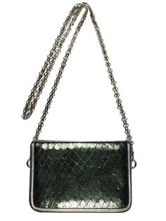GOSHICO, BOXY (evening bag with chain), green + black. To download high or low resolution photos view Mondrianista.com (editorial use only).