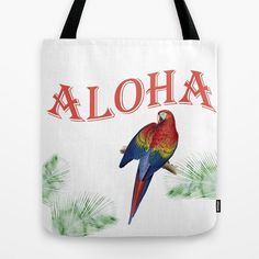 Parrot Beach Tote Bag   Aloha Hawaii tote   by ArtfullyFeathered