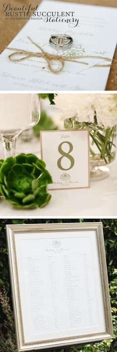 Beautiful rustic succulent wedding invitations and day of stationery by Jen Simpson Design! Photography by Marisa Holmes Photography #succulentwedding