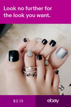 Black False Glue On Fake French Natural Toe Nail Acrylic Toe Nail Tips Art - Ongles 02 Frensh Nails, Acrylic Toe Nails, Black Toe Nails, Cute Toe Nails, Feet Nails, Pedicure Nails, Toe Nail Art, Acrylic Nail Designs, Nail Art Designs