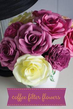 DIY Coffee Filter Flower Bouquet For Mom! --> http://www.hgtvgardens.com/crafts/make-coffee-filter-flowers?soc=pinterest