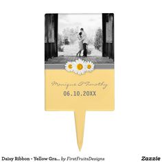 Daisy Ribbon - Yellow Gray & White Wedding Cake Topper This sweet daisy and ribbon design features a gray ribbon, and three sweet daisies. Fresh, stylish, and bright, in this yellow, gray, and white theme.