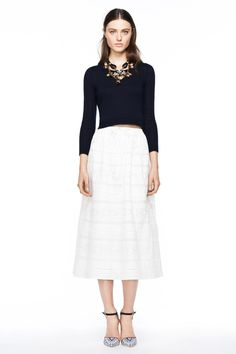 J.Crew Spring 2014: Crop tops with midis. Huge trend.  full midi skirt and short, boxy top