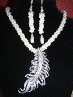 Braided Rope Pearl Necklace and Earring Set by BJDevine on Etsy