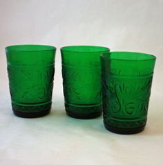 Your place to buy and sell all things handmade Vintage Green Glass, Vintage Yellow, Louvered Shutters, Juice Cup, Anchor Hocking, Vintage Glassware, Container Gardening, Old Things, Vintage Items