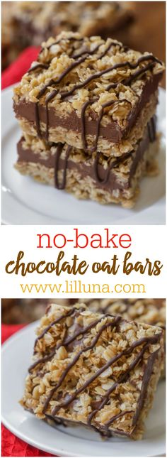 Simple and delicious no bake Chocolate Oat Bars - a great dessert to enjoy any time of year without heating up the house!