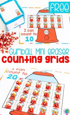 Try these FREE printable gumball mini eraser preschool counting grids with your preschoolers! Count to 10 with gumball mini erasers or count to 20 or 100 with this low-prep counting activity for preschoolers. These free printables are great math learning activities for your math centers! #freeprintables #preschool #counting #math #mathcenters