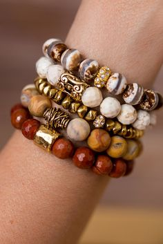 Neutral Bracelet Stack Add a touch of nature to any outfit with this unique stack of beaded bracelet designed and handmade in the South featuring semi-precious gemstones and gold accents. Each stack is carefully put togethe - Best Stone Jewelry Boho Jewelry, Jewelry Crafts, Beaded Jewelry, Jewelery, Jewelry Necklaces, Jewelry Ideas, Wire Crafts, Fashion Jewelry, Fashion Beads